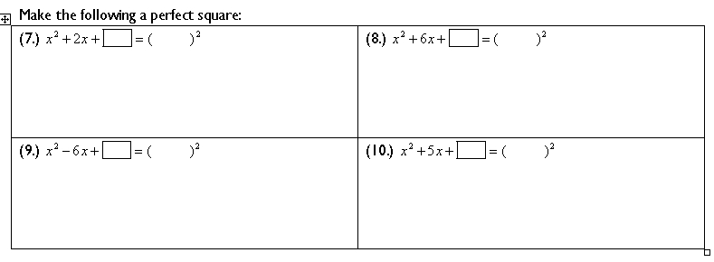 Completing the Square – Perfect Square Worksheet